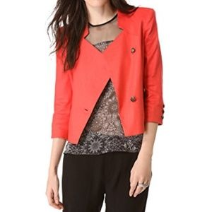 Helmut Lang Size 4 Glossy Linen Jacket in Torch